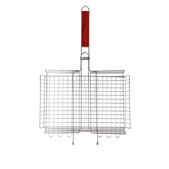 Решетка-гриль объемная большая с ручкой из красного дерева 26х38 см Forester, BQ-N03P