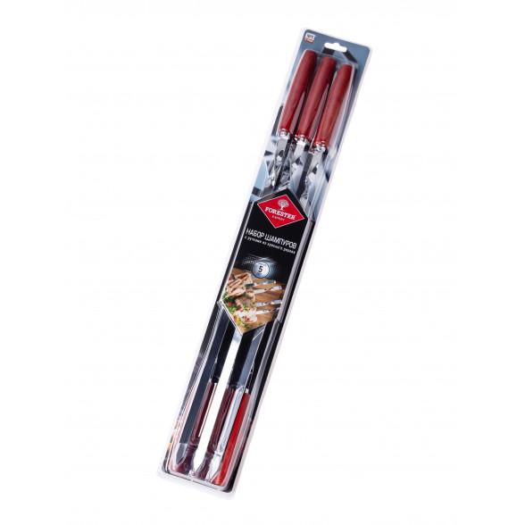 Набор шампуров с ручками из красного дерева 55см, Forester, 6 шт, RZ-60WP