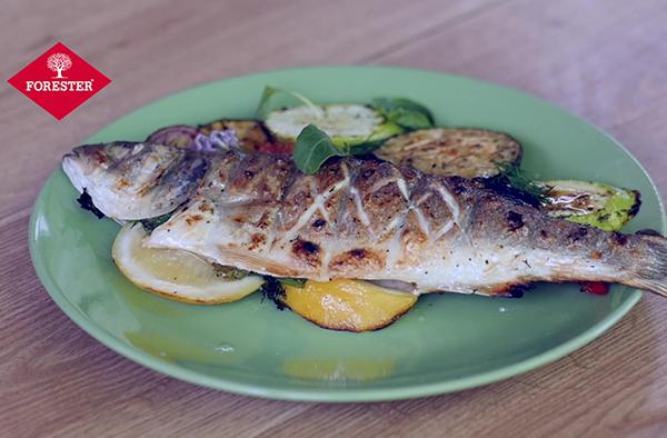 Рецепт сибаса с овощами на гриле