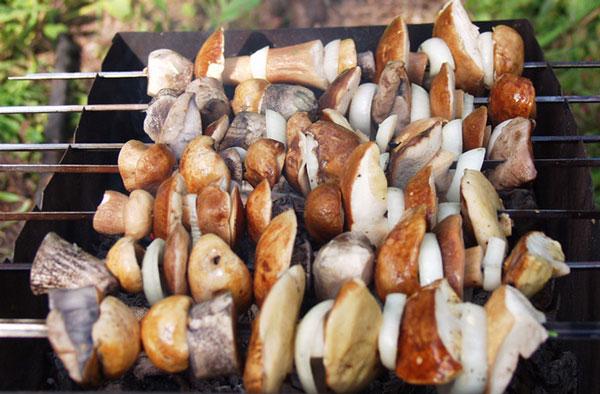 Шашлык из белых грибов